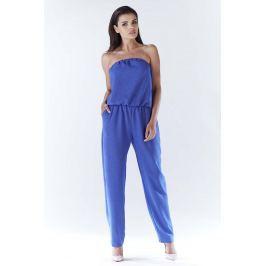 Niebieski Elegancki Kombinezon z Odkrytymi Ramionami Spodnie eleganckie damskie