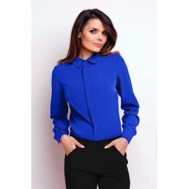 Kobaltowa Elegancka Klasyczna Koszula z Krytym Zapięciem