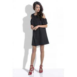 Czarna Wyjściowa Urocza Sukienka z Wyciętymi Ramionami
