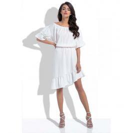 Ecru Asymetryczna Sukienka Hiszpanka z Rękawami do Łokcia Sukienki i suknie