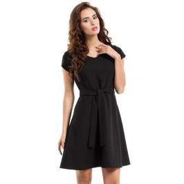 Czarna Sukienka Rozkloszowana z Wiązanym Paskiem Sukienki i suknie
