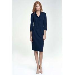Granatowa Sukienka Elegancka z Wiązaniem przy Dekolcie Sukienki i suknie