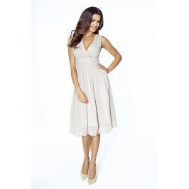 Beżowa Romantyczna i Elegancka Sukienka z Kopertowym Dekoltem