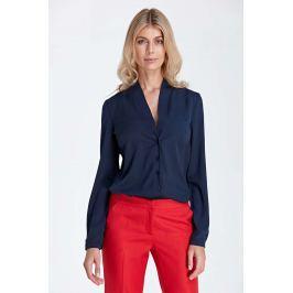 Granatowa Elegancka Koszulowa Bluzka z Dekoltem w Szpic Bluzki i bluzeczki damskie
