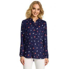 Granatowa Koszulowa Bluzka w Motyle Mod 1 Bluzki i bluzeczki damskie