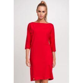 Czerwona Nowoczesna Sukienka z Dekoltem w Łódkę z Rękawem za Łokieć