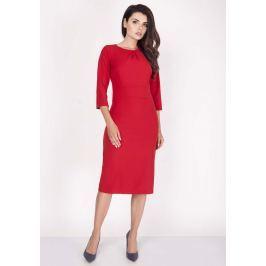 Czerwona Sukienka Midi z Rękawem za Łokieć