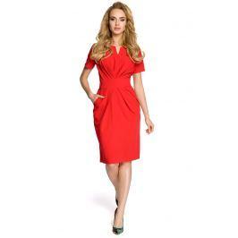 Drapowana Czerwona Sukienka z Dekoltem Sukienki i suknie