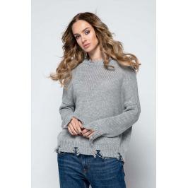 Wygodny Casualowy Sweterek z Rozdarciami - Szary