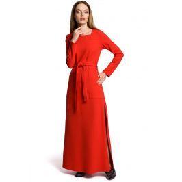 Czerwona Sukienka Dresowa Maxi z Dekoltem Caro z Rozcięciem Sukienki i suknie