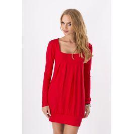 Czerwona Dzianinowa Sukienka z Dekoltem Caro z Długim Rękawem Sukienki i suknie