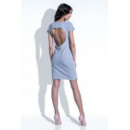 Szara Sukienka z Wycięciem na Plecach Sukienki i suknie