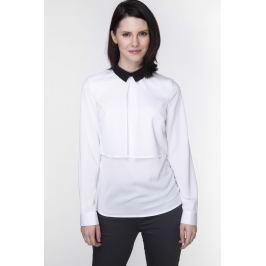 Biała warstwowa Bluzka z Kontrastowym kołnierzykiem Bluzki i bluzeczki damskie