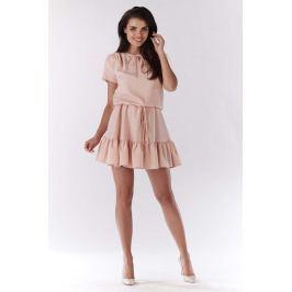 Jasno Różowa Mini Sukienka w Stylu Boho z Krótkim Rękawem Sukienki i suknie