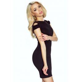 Czarna Sukienka Bodycon z Rozcięciem na Ramionach