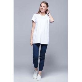Biały Luźny T-shirt z Krótkim Wywijanym Rękawem