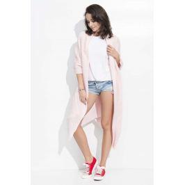 Różowy Długi Sweter-Narzutka z Kieszeniami Sweterki