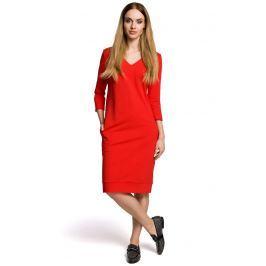 Sukienka Codzienna Dzianinowa z Dekoltem w Szpic - Czerwona Sukienki i suknie