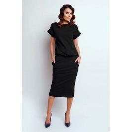 Czarna Nowoczesna Sukienka Midi z Krótkim Rękawkiem Sukienki i suknie