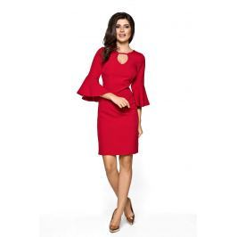 Czerwona Sukienka z Rozszerzanym Rękawem
