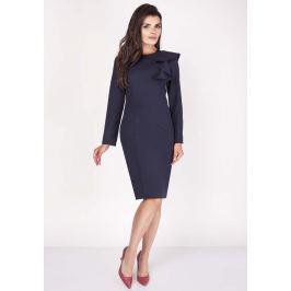 Granatowa Sukienki Ołówkowa Midi z Falbaną na Ramieniu Sukienki i suknie