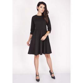 Czarna Sukienka z Szerokim Dołem z Rękawem 1/2 Sukienki i suknie