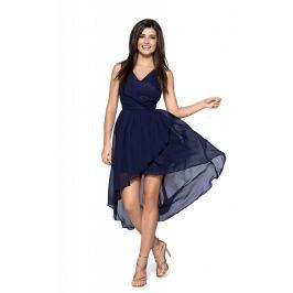 Granatowa Zwiewna Asymetryczna Sukienka z Dekoltem V