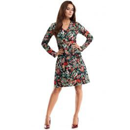 Sukienka Trapezowa z Dekoltem V z Kolorową Grafiką w Kwiaty