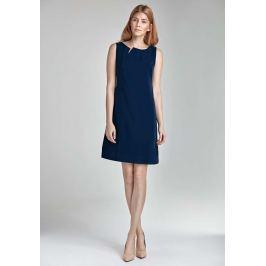 Granatowa Mini Sukienka z Rozcięciem przy Dekolcie bez Rękawów Sukienki i suknie