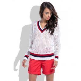 Biały Ażurowy Sweter w Serek z Kontrastowymi Paskami