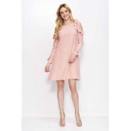 Różowa Sukienka o Kształcie Litery A z Wiązanymi Rękawami Sukienki i suknie