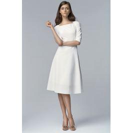 Ecru Wizytowa Midi Sukienka z Szerokim Dołem z Rękawem 1/2 Sukienki i suknie