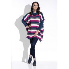 Amarantowy Sweter Oversizowy w Paski z Golfem