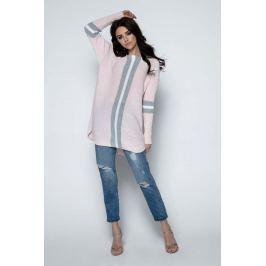 Pudrowy Długi Sweter -Tunika z Kontrastowymi Paskami