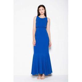 Niebieska Wieczorowa Maxi Sukienka z Nakładką Sukienki i suknie