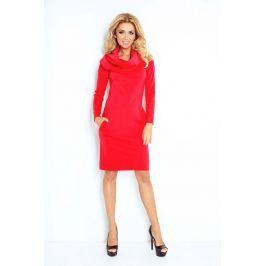 Czerwona Sukienka Dopasowana z Obfitym Golfem Sukienki i suknie