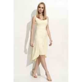 Żółta Sukienka Asymetryczna na Szerokich Ramiączkach  Sukienki i suknie