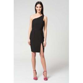 Czarna Wyjściowa Dopasowana Sukienka na Jedno Ramię