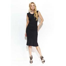 Czarna Elegancka Sukienka Midi w Stylu Rybki Sukienki i suknie