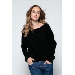 Czarny Sweter z Dekoltem V na Plecach