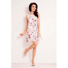 Sukienka Trapezowa Mini w Ciemne Kwiaty Sukienki i suknie