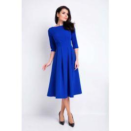 Niebieska Sukienka Wizytowa Midi z Szerokim Dołem Sukienki i suknie