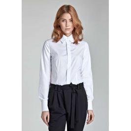 Biała Klasyczna Koszula z Krytym Zapięciem Koszule damskie