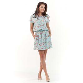 Niebieska Wzorzysta Letnia Marszczona w Pasie Sukienka Sukienki i suknie