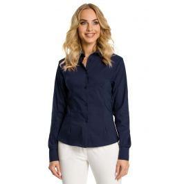 Granatowa Koszula Taliowana z Ozdobnymi Tasiemkami Koszule damskie