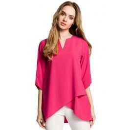 Różowa Bluzka Wizytowa z Dołem na Zakładkę Bluzki i bluzeczki damskie