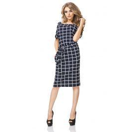 Sukienka Prosta Midi z Geometrycznym Wzorem - Wafelek Sukienki i suknie