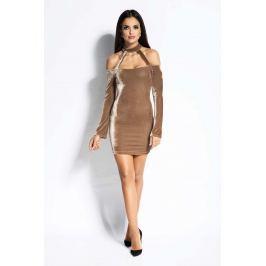 Beżowa Sukienka Ołówkowa Mini z Odkrytymi Ramionami