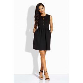 Czarna Sukienka Rozkloszowana bez Rękawów ze Złotymi Guzikami Sukienki i suknie
