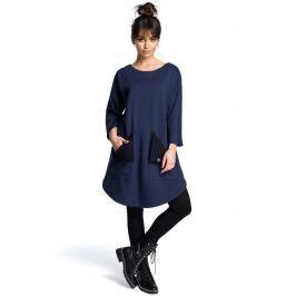 Granatowa Codzienna Trapezowa Sukienka Tunika z Kieszeniami Sukienki i suknie